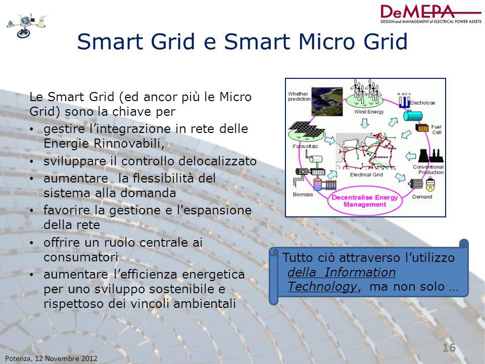 Smart Grid e Smart Micro Grid Le Smart Grid (ed ancor più le Micro Grid) sono la chiave per gestire l'integrazione in rete delle Energie Rinnovabili,
