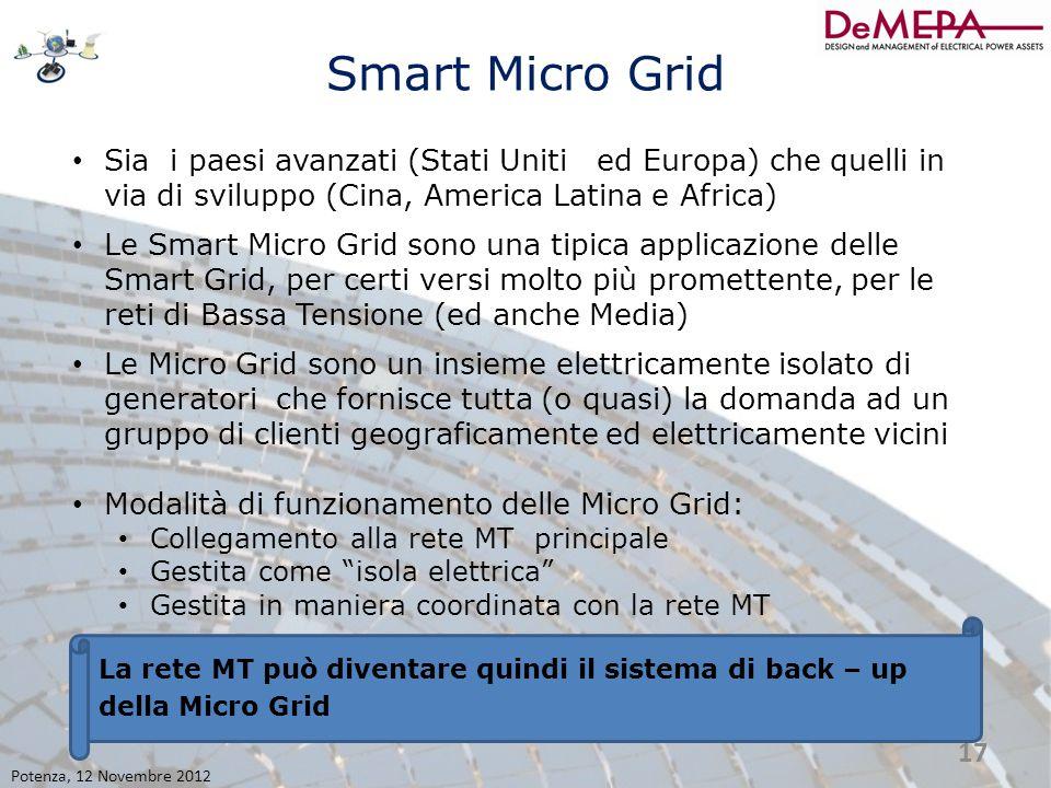 Smart Micro Grid Sia i paesi avanzati (Stati Uniti ed Europa) che quelli in via di sviluppo (Cina, America Latina e Africa) Le Smart Micro Grid sono u