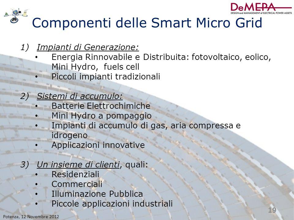 Componenti delle Smart Micro Grid 1)Impianti di Generazione: Energia Rinnovabile e Distribuita: fotovoltaico, eolico, Mini Hydro, fuels cell Piccoli i