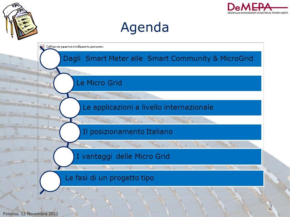 Agenda Dagli Smart Meter alle Smart Community & MicroGrid Le Micro Grid Le applicazioni a livello internazionale Il posizionamento Italiano I vantaggi delle Micro Grid Le fasi di un progetto tipo Potenza, 12 Novembre 2012 3