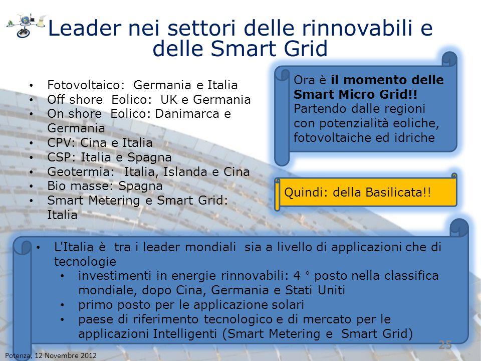 Leader nei settori delle rinnovabili e delle Smart Grid Fotovoltaico: Germania e Italia Off shore Eolico: UK e Germania On shore Eolico: Danimarca e G