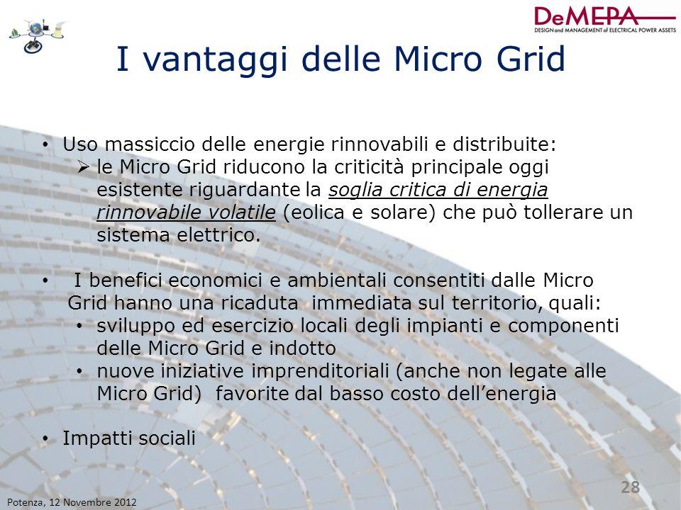 I vantaggi delle Micro Grid Uso massiccio delle energie rinnovabili e distribuite:  le Micro Grid riducono la criticità principale oggi esistente rig