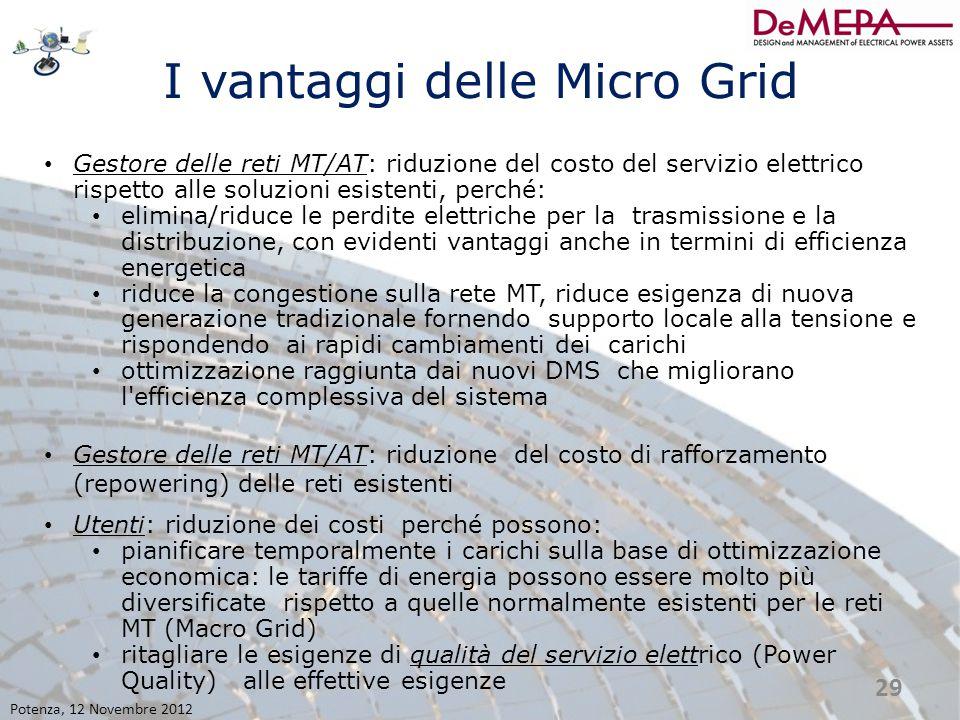 I vantaggi delle Micro Grid Gestore delle reti MT/AT: riduzione del costo del servizio elettrico rispetto alle soluzioni esistenti, perché: elimina/ri
