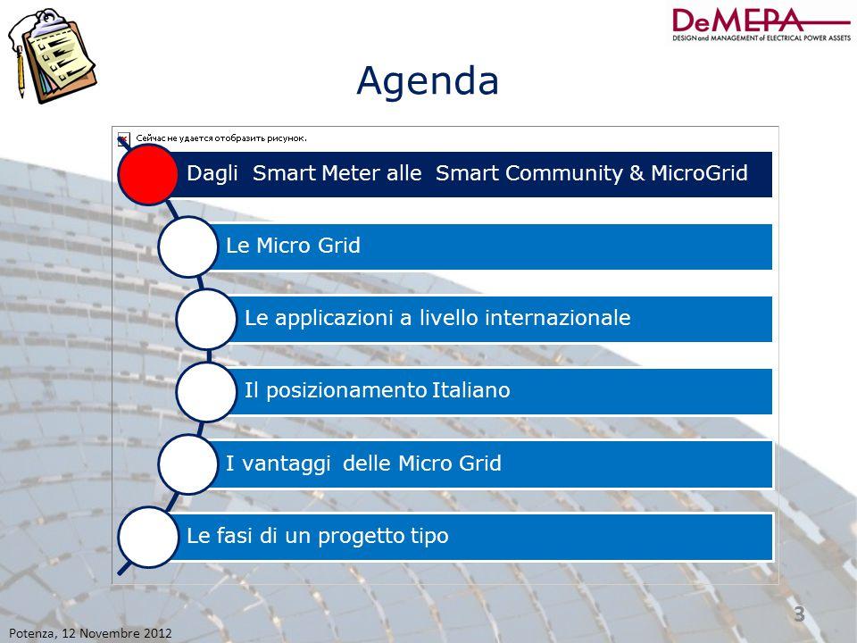 Agenda Dagli Smart Meter alle Smart Community & MicroGrid Le Micro Grid Le applicazioni a livello internazionale Il posizionamento Italiano I vantaggi delle Micro Grid Le fasi di un progetto tipo Potenza, 12 Novembre 2012 14