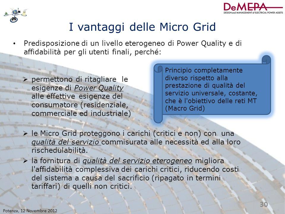 I vantaggi delle Micro Grid Predisposizione di un livello eterogeneo di Power Quality e di affidabilità per gli utenti finali, perché: Principio compl