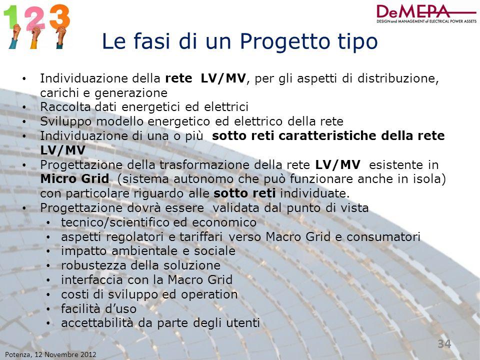 Le fasi di un Progetto tipo Individuazione della rete LV/MV, per gli aspetti di distribuzione, carichi e generazione Raccolta dati energetici ed elett