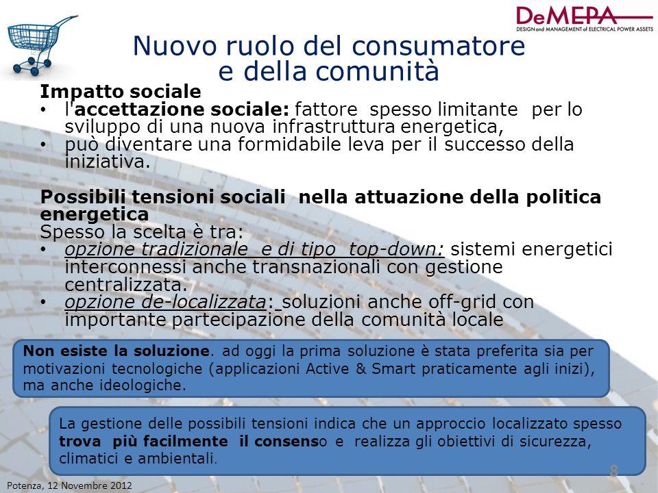 Nuovo ruolo del consumatore e della comunità Impatto sociale l'accettazione sociale: fattore spesso limitante per lo sviluppo di una nuova infrastrutt