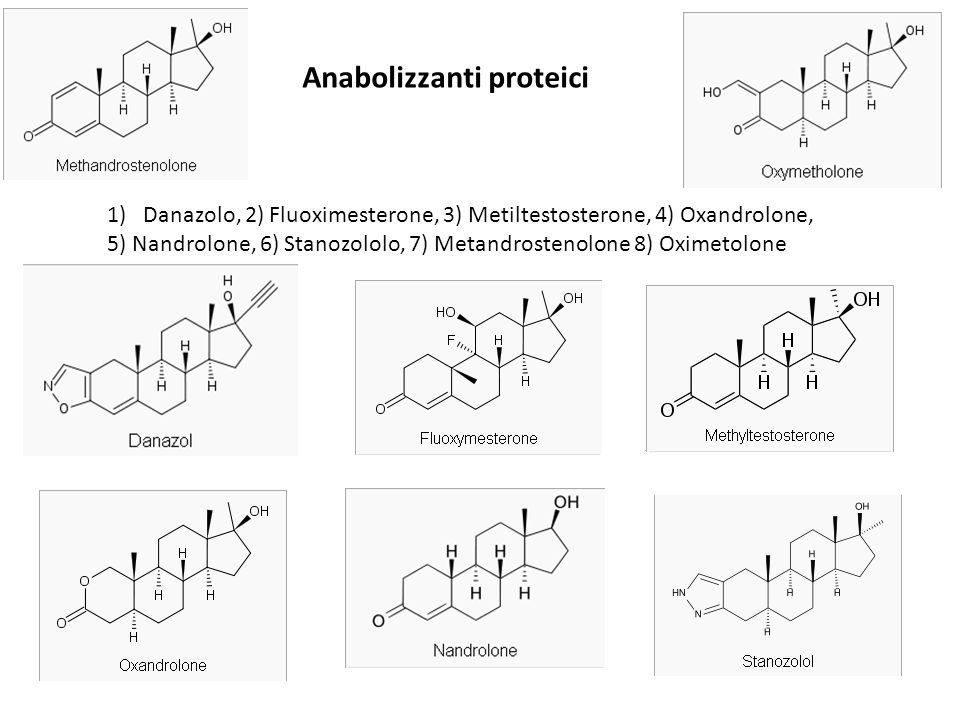 Anabolizzanti proteici 1)Danazolo, 2) Fluoximesterone, 3) Metiltestosterone, 4) Oxandrolone, 5) Nandrolone, 6) Stanozololo, 7) Metandrostenolone 8) Ox