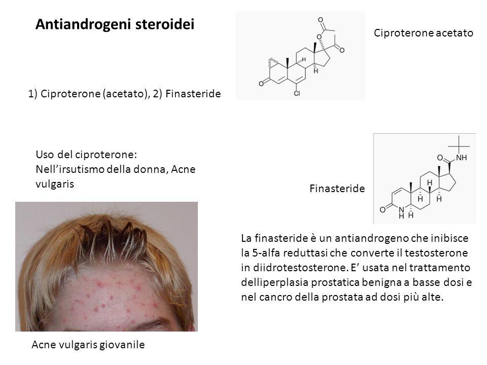 Antiandrogeni steroidei Uso del ciproterone: Nell'irsutismo della donna, Acne vulgaris 1) Ciproterone (acetato), 2) Finasteride Acne vulgaris giovanil