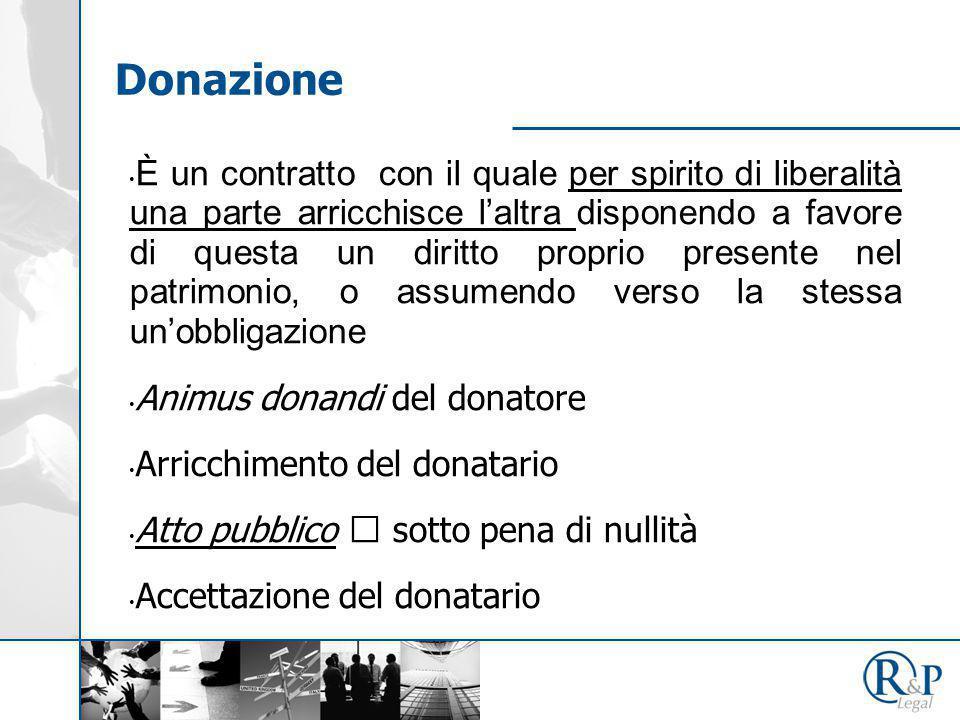 Donazione È un contratto con il quale per spirito di liberalità una parte arricchisce l'altra disponendo a favore di questa un diritto proprio present