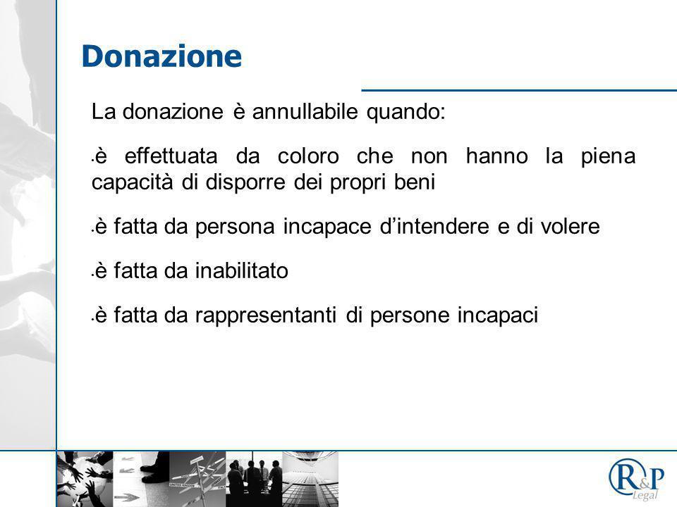 La donazione è annullabile quando: è effettuata da coloro che non hanno la piena capacità di disporre dei propri beni è fatta da persona incapace d'intendere e di volere è fatta da inabilitato è fatta da rappresentanti di persone incapaci Donazione