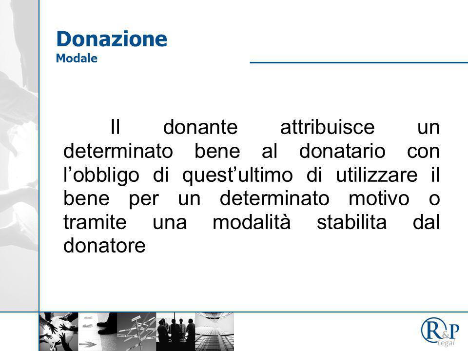 Il donante attribuisce un determinato bene al donatario con l'obbligo di quest'ultimo di utilizzare il bene per un determinato motivo o tramite una modalità stabilita dal donatore Donazione Modale