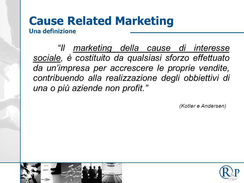Il marketing della cause di interesse sociale, è costituito da qualsiasi sforzo effettuato da un'impresa per accrescere le proprie vendite, contribuendo alla realizzazione degli obbiettivi di una o più aziende non profit. (Kotler e Andersen) Cause Related Marketing Una definizione