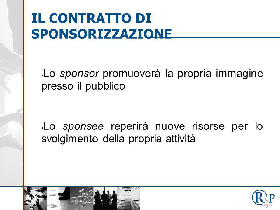 Lo sponsor promuoverà la propria immagine presso il pubblico Lo sponsee reperirà nuove risorse per lo svolgimento della propria attività IL CONTRATTO DI SPONSORIZZAZIONE