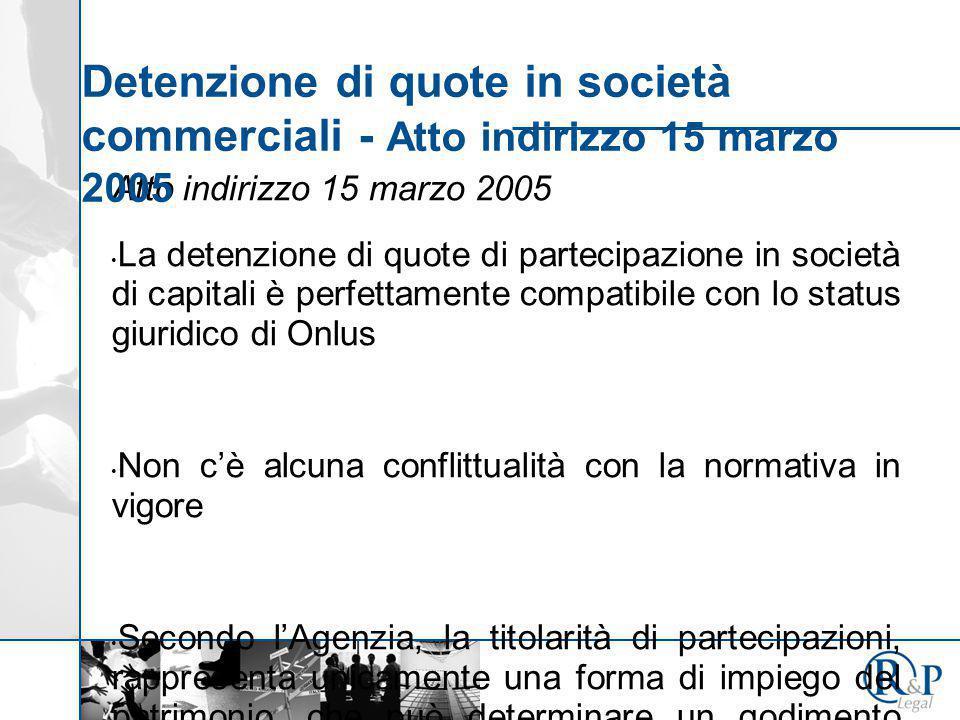 Atto indirizzo 15 marzo 2005 La detenzione di quote di partecipazione in società di capitali è perfettamente compatibile con lo status giuridico di On
