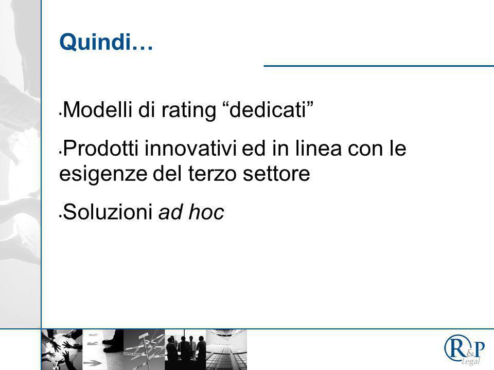 """Quindi… Modelli di rating """"dedicati"""" Prodotti innovativi ed in linea con le esigenze del terzo settore Soluzioni ad hoc"""