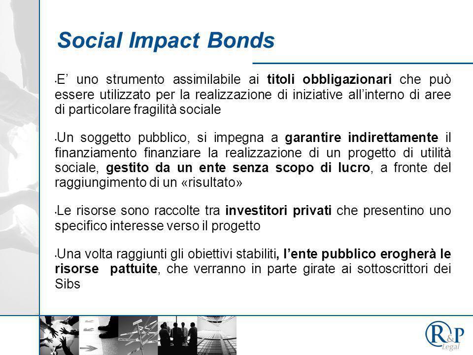 Social Impact Bonds E' uno strumento assimilabile ai titoli obbligazionari che può essere utilizzato per la realizzazione di iniziative all'interno di