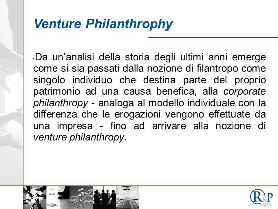 Venture Philanthrophy Da un'analisi della storia degli ultimi anni emerge come si sia passati dalla nozione di filantropo come singolo individuo che d