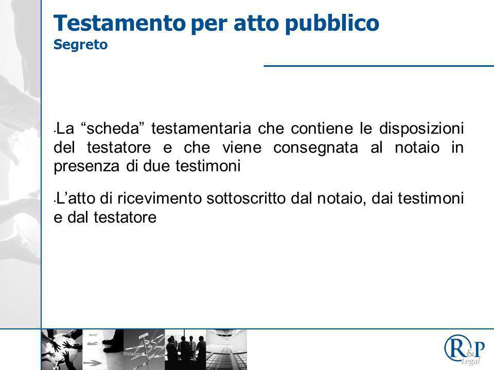 """La """"scheda"""" testamentaria che contiene le disposizioni del testatore e che viene consegnata al notaio in presenza di due testimoni L'atto di ricevimen"""