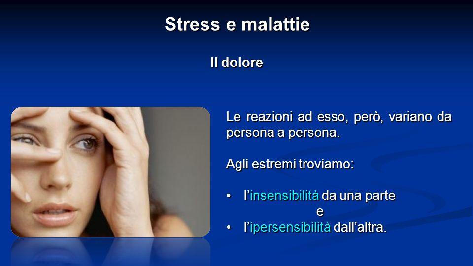 Stress e malattie Il dolore Le reazioni ad esso, però, variano da persona a persona.