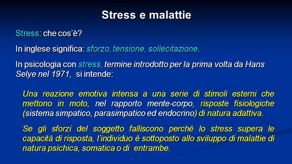 Stress e malattie Molteplici sono gli eventi che nella vita possono avere effetti stressanti.