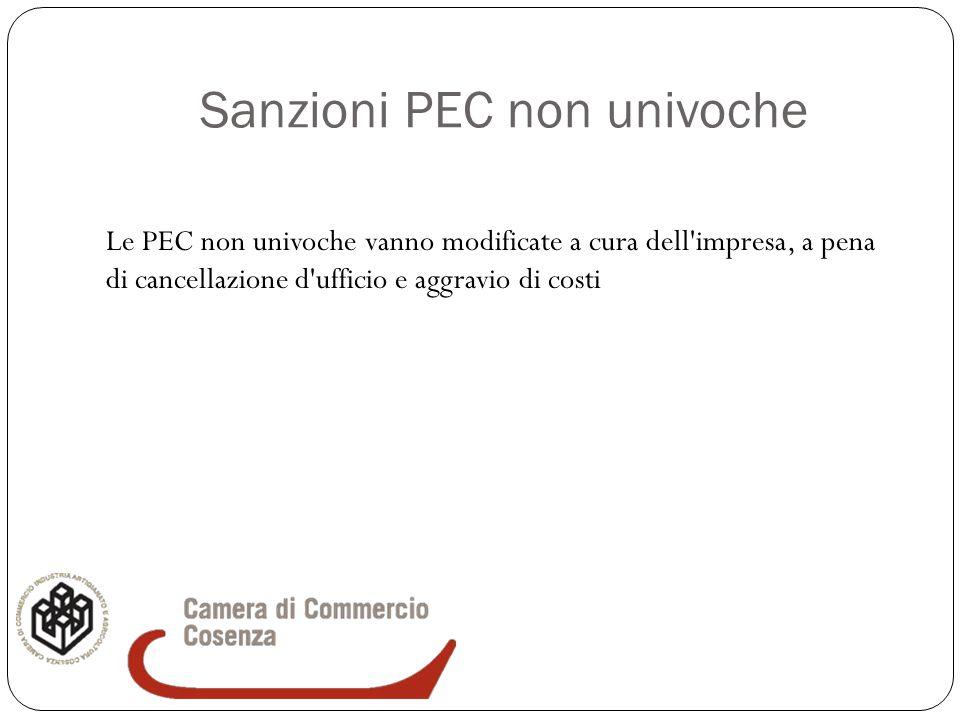 Sanzioni PEC non univoche Le PEC non univoche vanno modificate a cura dell'impresa, a pena di cancellazione d'ufficio e aggravio di costi