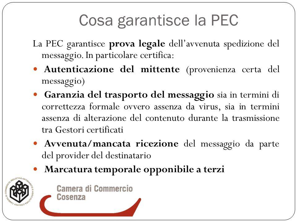 Cosa garantisce la PEC La PEC garantisce prova legale dell'avvenuta spedizione del messaggio. In particolare certifica: Autenticazione del mittente (p