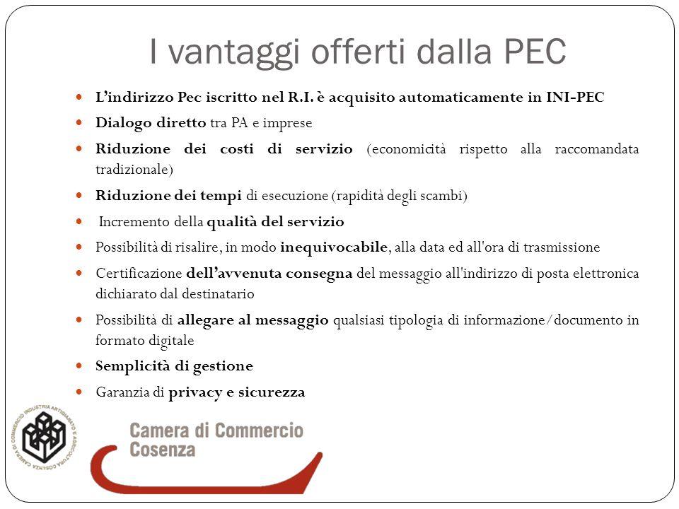 I vantaggi offerti dalla PEC L'indirizzo Pec iscritto nel R.I. è acquisito automaticamente in INI-PEC Dialogo diretto tra PA e imprese Riduzione dei c