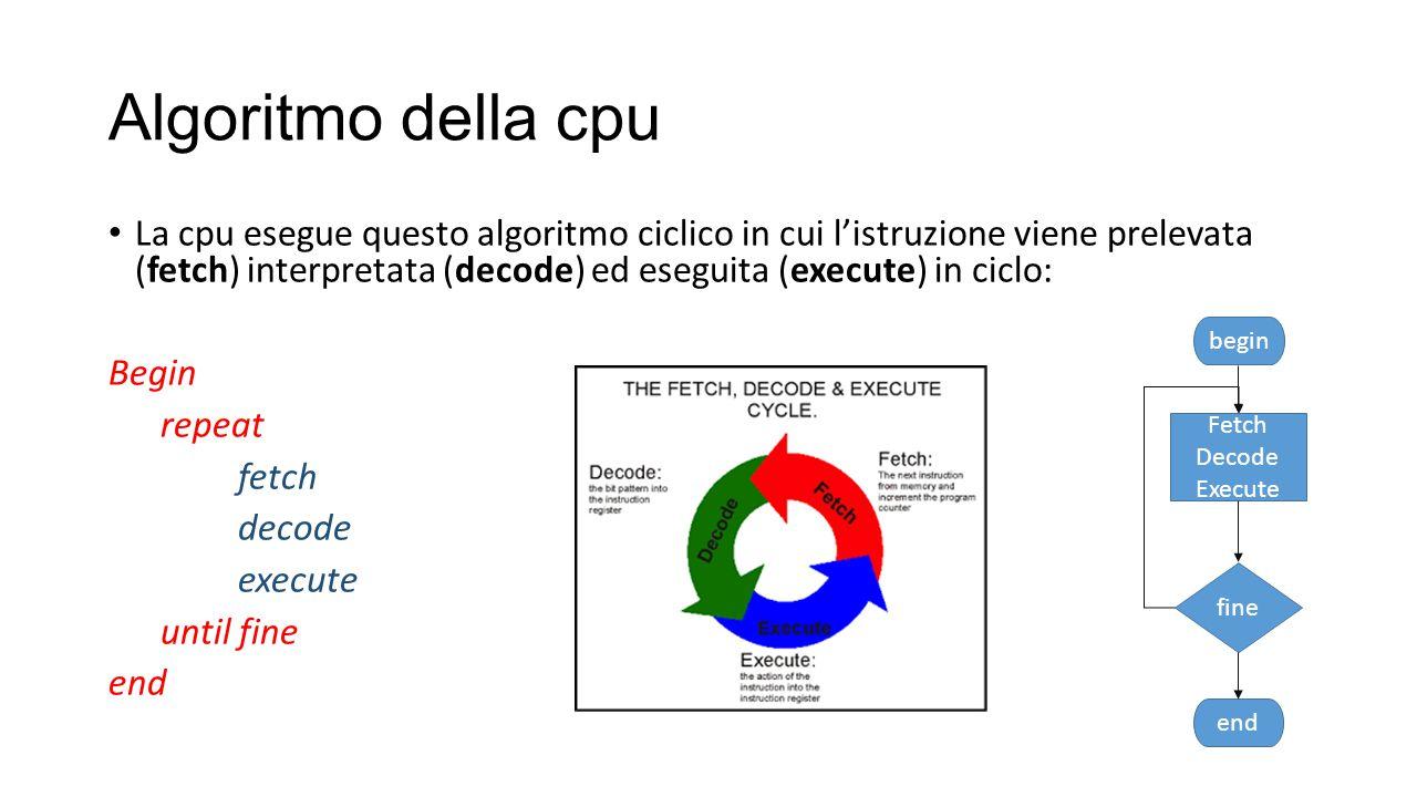 Algoritmo della cpu La cpu esegue questo algoritmo ciclico in cui l'istruzione viene prelevata (fetch) interpretata (decode) ed eseguita (execute) in ciclo: Begin repeat fetch decode execute until fine end begin end fine Fetch Decode Execute