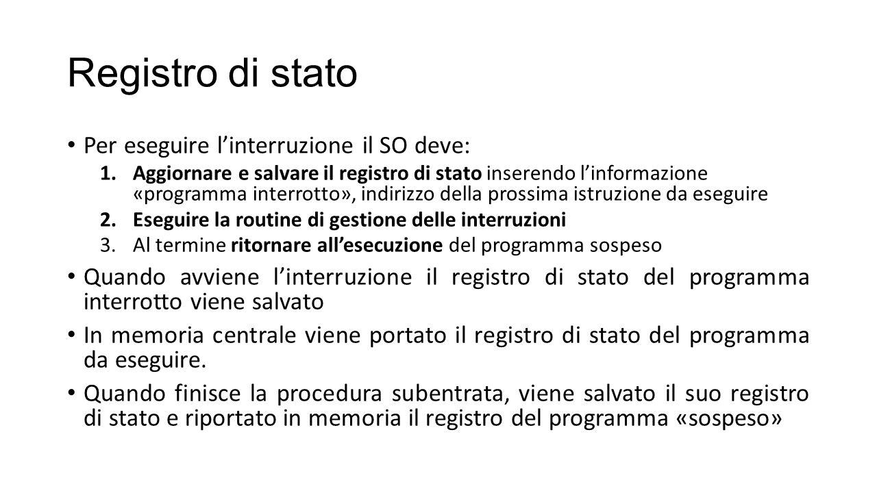 Registro di stato Per eseguire l'interruzione il SO deve: 1.Aggiornare e salvare il registro di stato inserendo l'informazione «programma interrotto»,