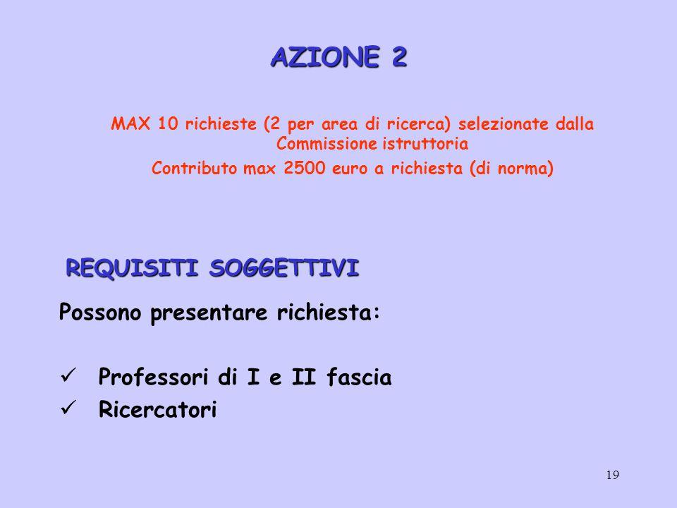 19 AZIONE 2 MAX 10 richieste (2 per area di ricerca) selezionate dalla Commissione istruttoria Contributo max 2500 euro a richiesta (di norma) REQUISITI SOGGETTIVI REQUISITI SOGGETTIVI Possono presentare richiesta: Professori di I e II fascia Ricercatori