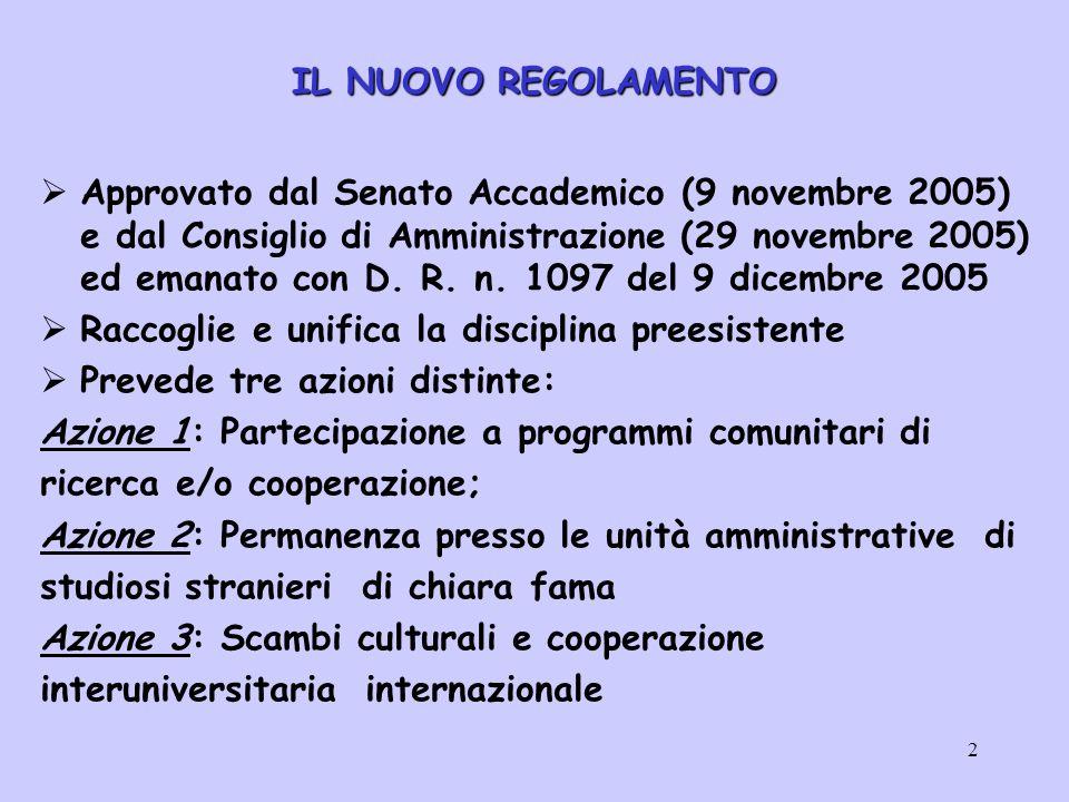 2 IL NUOVO REGOLAMENTO  Approvato dal Senato Accademico (9 novembre 2005) e dal Consiglio di Amministrazione (29 novembre 2005) ed emanato con D.