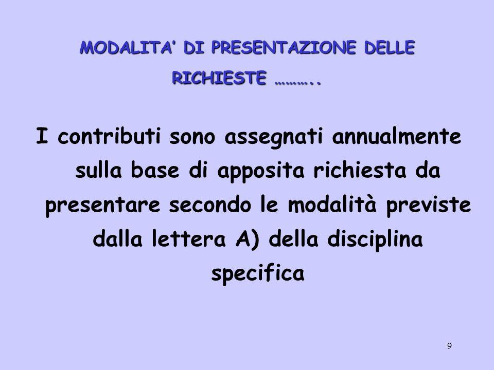 10 ……..MODALITA' DI PRESENTAZIONE DELLE RICHIESTE ………..