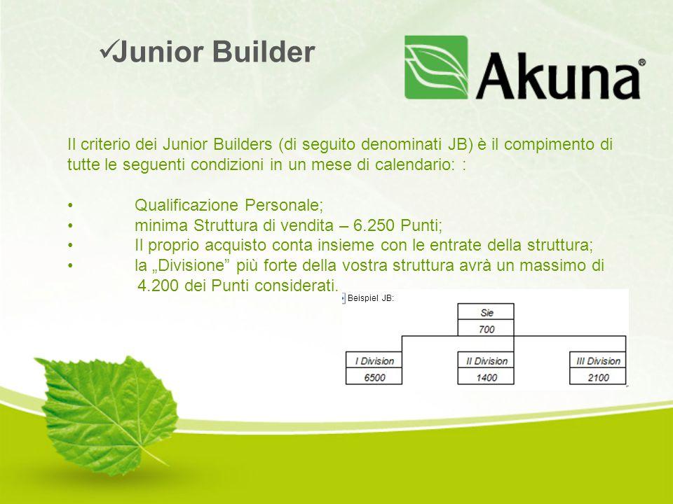 Il criterio dei Junior Builders (di seguito denominati JB) è il compimento di tutte le seguenti condizioni in un mese di calendario: : Qualificazione