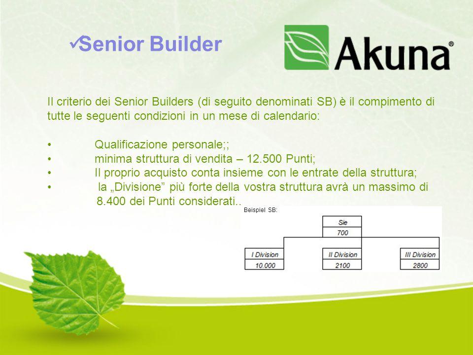 Il criterio dei Senior Builders (di seguito denominati SB) è il compimento di tutte le seguenti condizioni in un mese di calendario: Qualificazione pe