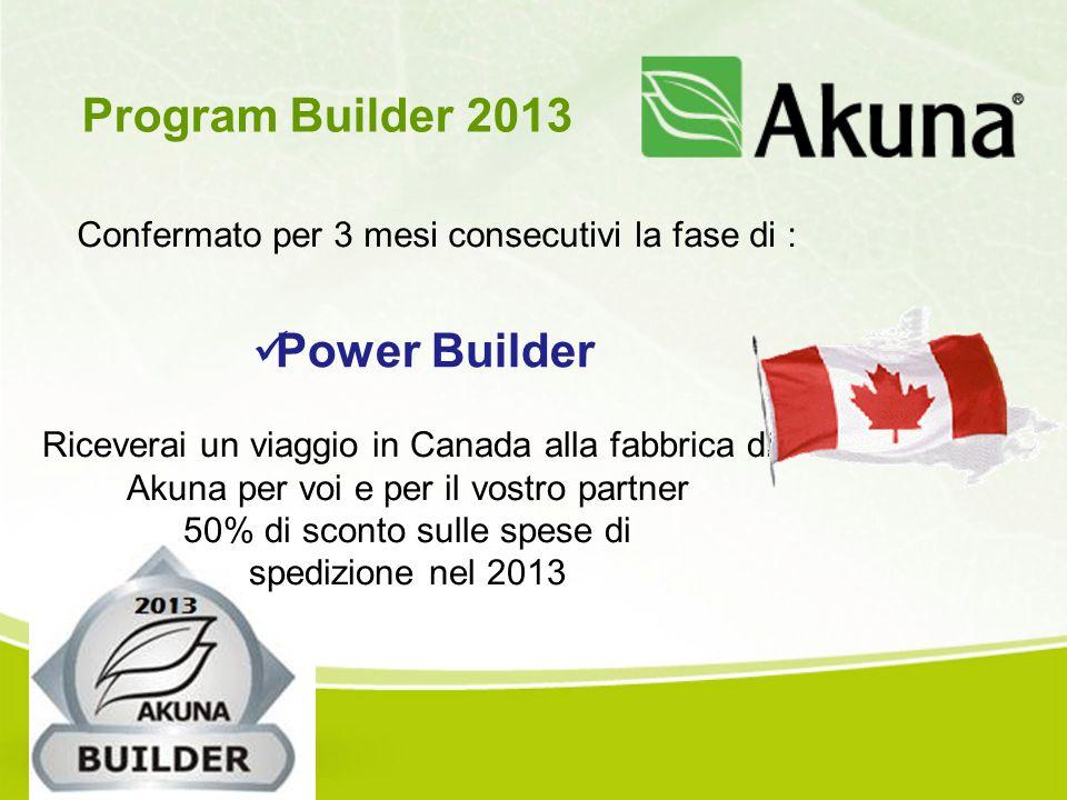Confermato per 3 mesi consecutivi la fase di : Program Builder 2013 Power Builder Riceverai un viaggio in Canada alla fabbrica di Akuna per voi e per