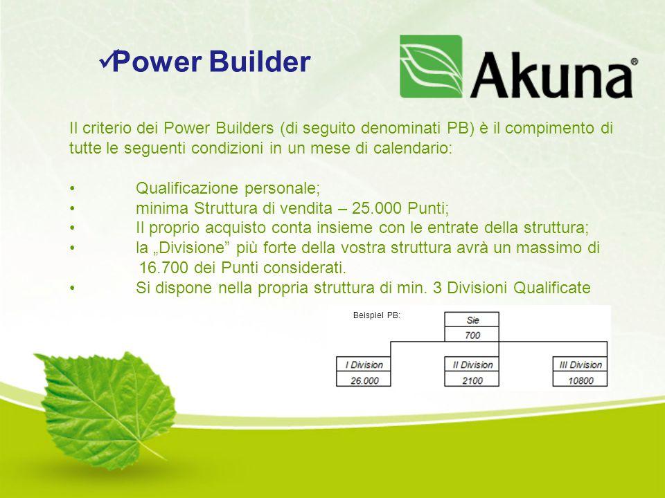 Il criterio dei Power Builders (di seguito denominati PB) è il compimento di tutte le seguenti condizioni in un mese di calendario: Qualificazione per