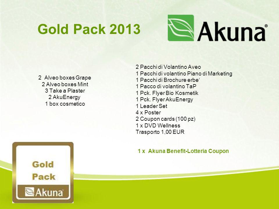 2 Alveo boxes Grape 2 Alveo boxes Mint 3 Take a Plaster 2 AkuEnergy 1 box cosmetico Gold Pack 2013 2 Pacchi di Volantino Aveo 1 Pacchi di volantino Pi
