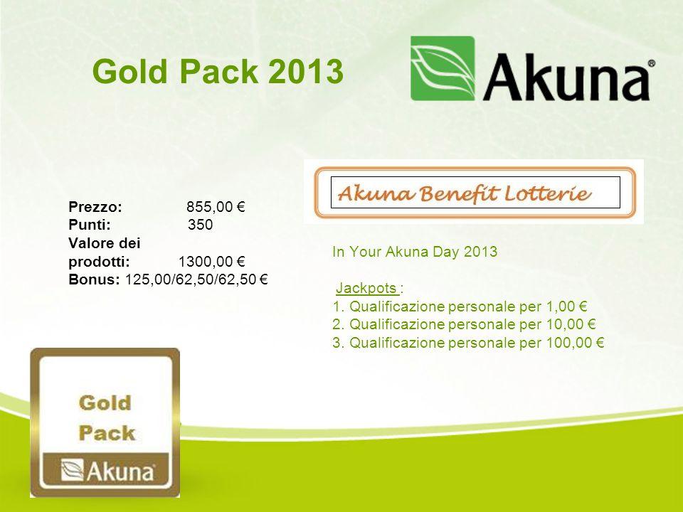 Prezzo: 855,00 € Punti: 350 Valore dei prodotti: 1300,00 € Bonus: 125,00/62,50/62,50 € Gold Pack 2013 In Your Akuna Day 2013 Jackpots : 1. Qualificazi