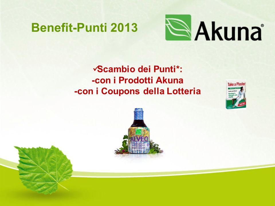 Scambio dei Punti*: -con i Prodotti Akuna -con i Coupons della Lotteria Benefit-Punti 2013