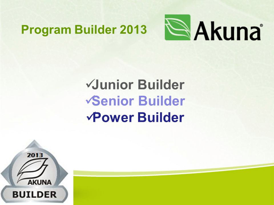 Junior Builder Senior Builder Power Builder Program Builder 2013