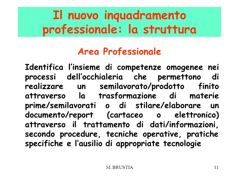 M. BRUSTIA11 Area Professionale Identifica l'insieme di competenze omogenee nei processi dell'occhialeria che permettono di realizzare un semilavorato