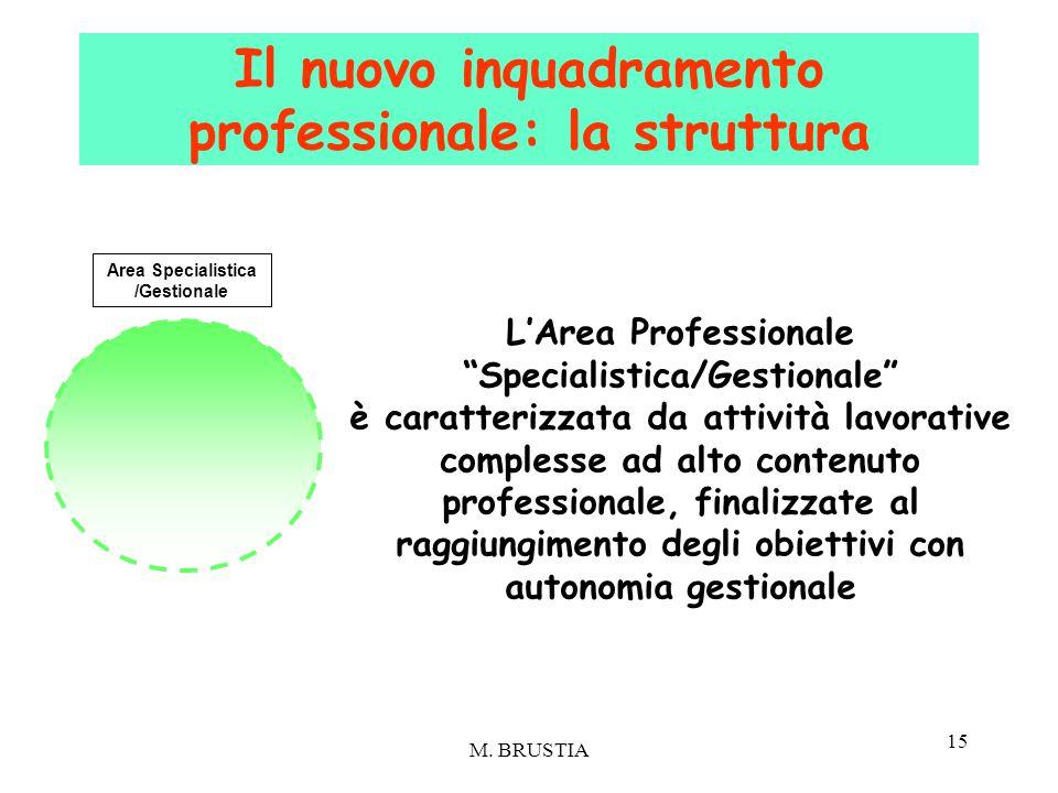 """15 L'Area Professionale """"Specialistica/Gestionale"""" è caratterizzata da attività lavorative complesse ad alto contenuto professionale, finalizzate al r"""