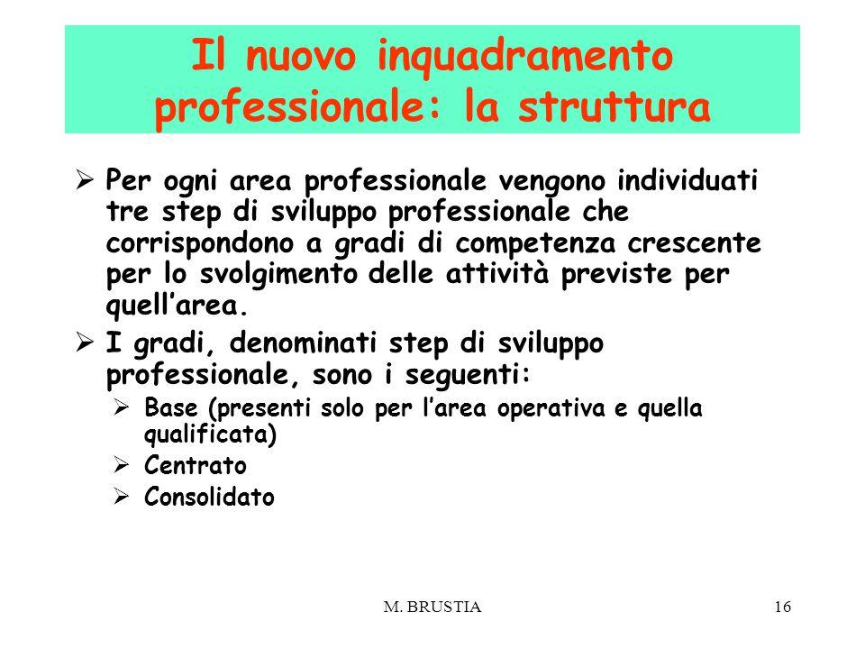 16  Per ogni area professionale vengono individuati tre step di sviluppo professionale che corrispondono a gradi di competenza crescente per lo svolg
