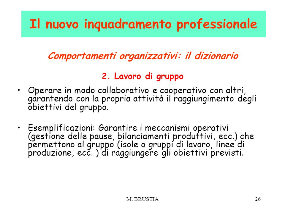 M. BRUSTIA26 Comportamenti organizzativi: il dizionario 2. Lavoro di gruppo Operare in modo collaborativo e cooperativo con altri, garantendo con la p