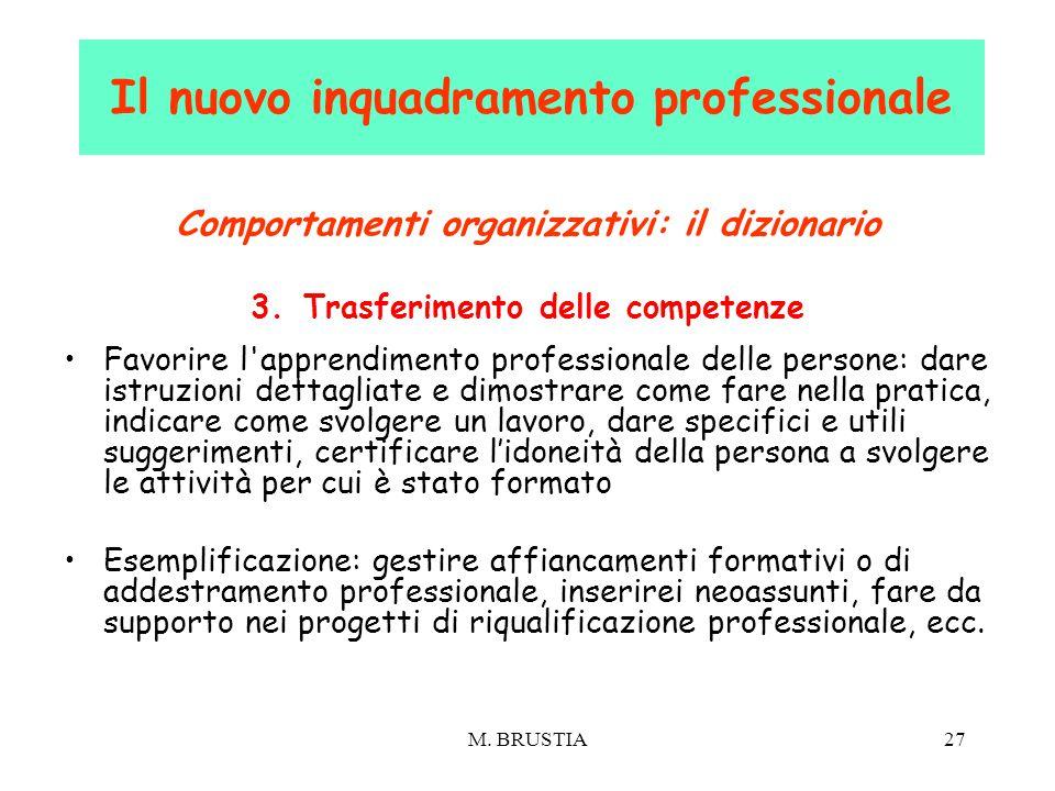 M. BRUSTIA27 Comportamenti organizzativi: il dizionario 3.Trasferimento delle competenze Favorire l'apprendimento professionale delle persone: dare is