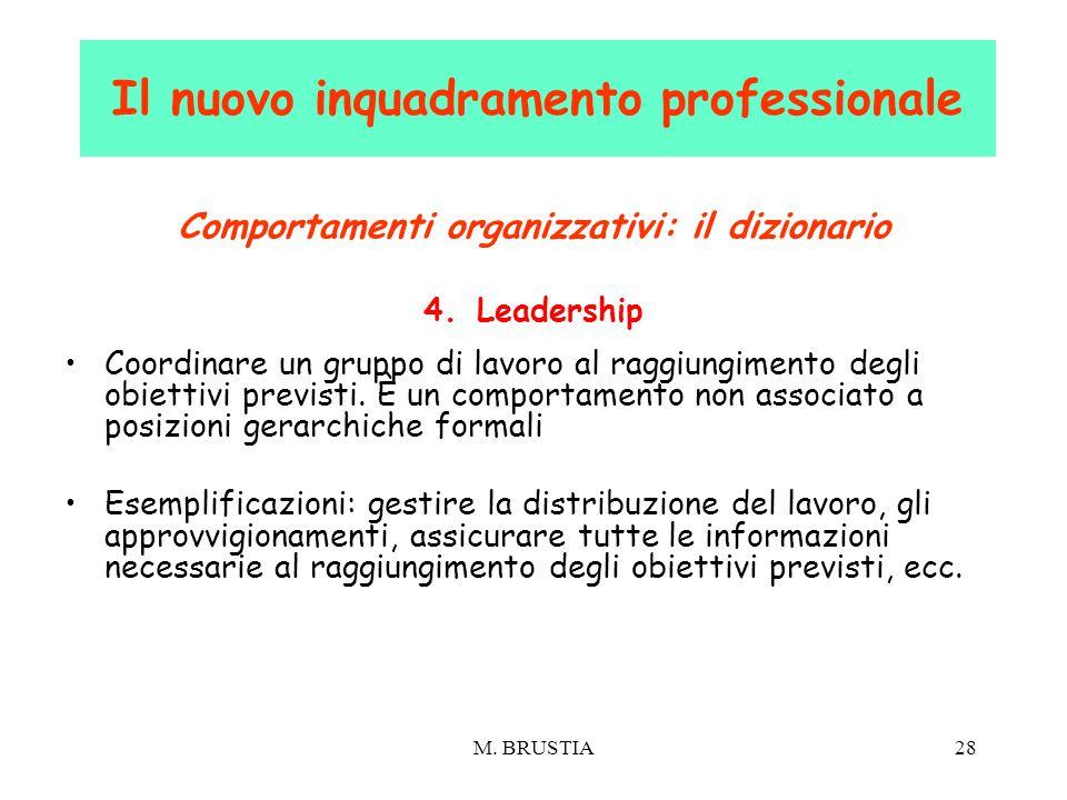 M. BRUSTIA28 Comportamenti organizzativi: il dizionario 4.Leadership Coordinare un gruppo di lavoro al raggiungimento degli obiettivi previsti. È un c