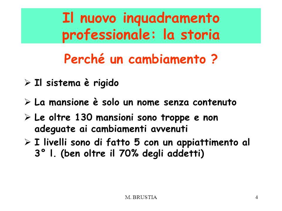 M. BRUSTIA4 Perché un cambiamento ?  Il sistema è rigido  La mansione è solo un nome senza contenuto  Le oltre 130 mansioni sono troppe e non adegu