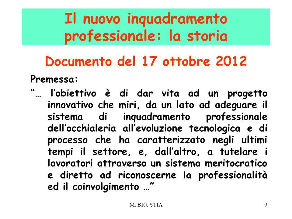 """M. BRUSTIA9 Documento del 17 ottobre 2012 Premessa: """"… l'obiettivo è di dar vita ad un progetto innovativo che miri, da un lato ad adeguare il sistema"""