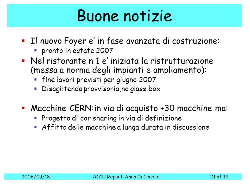 2006/09/18ACCU Report-Anna Di Ciaccio21 of 13 Buone notizie  Il nuovo Foyer e' in fase avanzata di costruzione:  pronto in estate 2007  Nel ristora